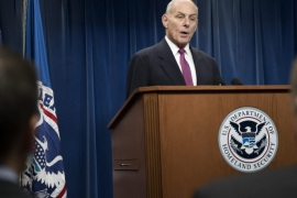 US Secretary of Homeland Security, John Kelly responds to a question from the news media on the Trump administration travel ban during a press conference at the Customs Border Protection department in Washington, DC, USA, 31 January 2017.