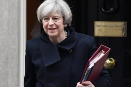 British Prime Minister Theresa May departs 10 Downing Street in London, Britain, 01 February 2017. Parliament is holding its final day in a two-day long debate on the bill to trigger Article 50 and Britain's exit from the EU. MP's will vote to trigger Article 50 on 01 February.