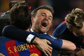 Football Soccer – Barcelona v Paris St Germain – UEFA Champions League Round of 16 Second Leg – The Nou Camp, Barcelona, Spain – 8/3/17 Barcelona coach Luis Enrique and Sergi Roberto celebrate after the game  Reuters / Albert Gea Livepic