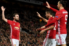 MANCHESTER, ENGLAND – MARCH 16:  Juan Mata of Manchester is congratulated after scoring the opening goal during the UEFA Europa  League Round of 16 second leg match between Manchester United and FK Rostov at Old Trafford on March 16, 2017 in Manchester, United Kingdom.  (Photo by Ross Kinnaird/Getty Images)