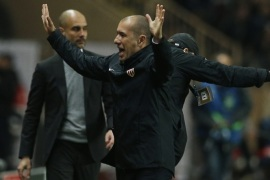 Soccer Football – AS Monaco v Manchester City – UEFA Champions League Round of 16 Second Leg – Stade Louis II, Monaco – 15/3/17 Monaco coach Leonardo Jardim celebrates after the game as Manchester City manager Pep Guardiola looks dejected   Action Images via Reuters / Andrew Couldridge Livepic
