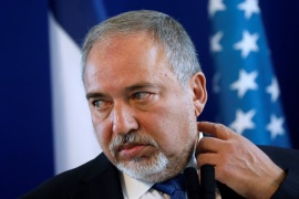 Israel's Minister of Defense Avigdor Lieberman listens during a joint news conference with U.S. Defense Secretary James Mattis at the Ministry of Defense in Tel Aviv, Israel, April 21, 2017. REUTERS/Jonathan Ernst
