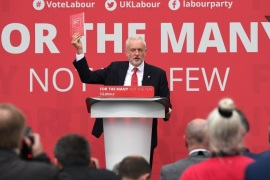 BRADFORD, ENGLAND – MAY 16:  Leader of the Labour Party Jeremy Corbyn launches the Labour Party Election Manifesto, at Bradford University on May 16, 2017 in Bradford, England. Britain will vote in a general election on June 8.  (Photo by Leon Neal/Getty Images)