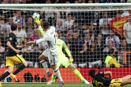 Football Soccer – Real Madrid v Atletico Madrid – UEFA Champions League Semi Final First Leg – Estadio Santiago Bernabeu, Madrid, Spain – 2/5/17 Real Madrid's Cristiano Ronaldo scores their second goal  Reuters / Albert Gea Livepic