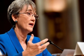 U.S. Secretary of the Air Force Nominee Heather Wilson testifies before the Senate Armed Services Committee, as a part of the confirmation process in Washington, DC, U.S. on March 30, 2017.  Picture taken on March 30, 2017.    Scott M. Ash/Courtesy U.S. Air Force/Handout via REUTERS   ATTENTION EDITORS – THIS IMAGE WAS PROVIDED BY A THIRD PARTY. EDITORIAL USE ONLY.