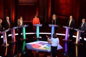 CAMBRIDGE, ENGLAND – MAY 31:  Liberal Democrats leader Tim Farron, Labour leader Jeremy Corbyn, Green Party co-leader Caroline Lucas, Plaid Cymru leader Leanne Wood, Home Secretary Amber Rudd,  Ukip leader Paul Nuttall  and SNP deputy leader Angus Robertson take part in the BBC Election Debate hosted by BBC news presenter Mishal Husain,  as it is broadcast live from Senate House on May 31, 2017 in Cambridge, England.  Six Leaders of the Seven political parties campaigni