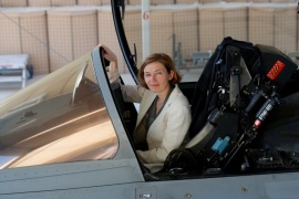 French Minister of the Armed Forces Florence Parly poses as she sits in a Rafale jet fighter at an airbase in Jordan July 18, 2017. Picture taken July 18, 2017.  REUTERS/Philippe Wojazer