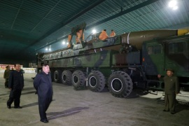 North Korean leader Kim Jong Un inspects the intercontinental ballistic missile Hwasong-14 in this undated photo released by North Korea's Korean Central News Agency (KCNA) in Pyongyang July 5, 2017. KCNA/via REUTERS ATTENTION EDITORS – THIS IMAGE WAS PROVIDED BY A THIRD PARTY. REUTERS IS UNABLE TO INDEPENDENTLY VERIFY THIS IMAGE. NO THIRD PARTY SALES. SOUTH KOREA OUT.