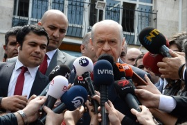 ANKARA, TURKEY – APRIL 16: Nationalist Movement Party (MHP) leader Devlet Bahceli speaks to media at a polling station during a referendum in Ankara, April 16, 2017 Turkey. Millions of Turks are heading to the polls to vote on a set of 18 proposed amendments to the Constitution of Turkey. A 'Yes' vote would grant President Recep Tayyip Erdogan, who seeking to replace Turkey's parliamentary system, with full executive powers. (Photo by Elif Sogut/Getty Images)