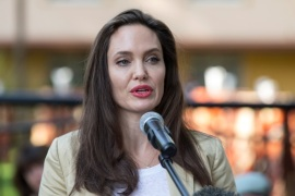 U.S. Actor and UNHCR Special Envoy Angelina Jolie delivers a statement in front of the sexual and gender-based violence prevention course at The International Peace Support Training Centre in Nairobi, Kenya, June 20, 2017. REUTERS/Baz Ratner