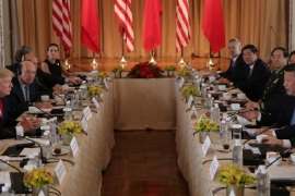 U.S. President Donald Trump (2nd L) holds a bilateral meeting with China's President Xi Jinping (R) at Trump's Mar-a-Lago estate in Palm Beach, Florida, U.S., April 7, 2017. REUTERS/Carlos Barria