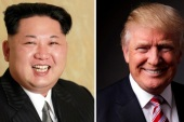 FILE PHOTOS: A combination photo shows a Korean Central News Agency (KCNA) handout of North Korean leader Kim Jong Un released on May 10, 2016, and Republican U.S. presidential candidate Donald Trump posing for a photo after an interview with Reuters in his office in Trump Tower, in the Manhattan borough of New York City, U.S., May 17, 2016. REUTERS/KCNA handout via Reuters/File Photo & REUTERS/Lucas Jackson/File Photo ATTENTION EDITORS – THE KCNA IMAGE WAS PROVIDED BY