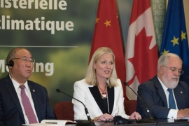 From L to R: China's representative on climate change Xie Zhenhua, Canadian Environment Minister Catherine McKenna and European Union Commissioner for Climate Change and Energy, Miguel Arias Canete, speak to the press after a  ministerial meeting on September 16, 2017 in Montreal to push forward on implementing the Paris climate accord without the United States, three months after President Donald Trump walked out on the deal.The meeting was requested by Canada, China and the European Union with more than half of G20 members attending — representing most of the world's largest economies.Nearly 200 countries agreed in Paris at the end of 2015 to limit or reduce carbon dioxide emissions with the aim of keeping the rise in average global temperatures to no more than 1.5 degrees Celsius by 2050, compared to preindustrial levels. / AFP PHOTO / Alice CHICHE        (Photo credit should read ALICE CHICHE/AFP/Getty Images)