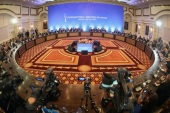 A picture shows a general view during a fifth round of Syria peace talks on July 5, 2017, in Astana.Powerbrokers Russia, Iran and Turkey struggled on July 5 to hammer out details on a plan for safe zones in Syria at a fifth round of peace talks in the Kazakh capital. Moscow and Tehran, which back Syrian President Bashar al-Assad, and rebel supporter Ankara agreed in May to establish four 'de-escalation' zones in a potential breakthrough towards calming a war that has claimed an estimated 320,000 lives since March 2011. / AFP PHOTO / STANISLAV FILIPPOV        (Photo credit should read STANISLAV FILIPPOV/AFP/Getty Images)