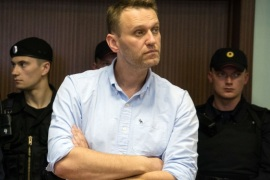 Russian jailed opposition leader Alexei Navalny attends a court hearing in Moscow on June 16, 2017. Navalny has been sentenced to 30 days behind bars after being detained on June 12 on his way to a protest in Moscow against government corruption, where hundreds were arrested in the city centre. / AFP PHOTO / Andrey BORODULIN        (Photo credit should read ANDREY BORODULIN/AFP/Getty Images)