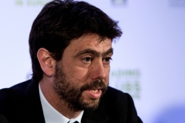 Andrea Agnelli (L) president of Juventus football club gives a press conference after the general assembly of the European Club Association (ECA) in Athens, on March 28, 2017.  / AFP PHOTO / Angelos Tzortzinis        (Photo credit should read ANGELOS TZORTZINIS/AFP/Getty Images)
