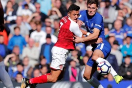 Soccer Football – Premier League – Chelsea vs Arsenal – Stamford Bridge, London, Britain – September 17, 2017   Chelsea's Andreas Christensen in action with Arsenal's Alexis Sanchez   REUTERS/Eddie Keogh    EDITORIAL USE ONLY. No use with unauthorized audio, video, data, fixture lists, club/league logos or