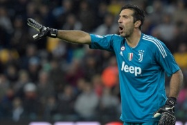 Juventus' Italian goalkeeper Gianluigi Buffon gestures during the Italian Serie A football match Udinese vs Juventus at the Friuli stadium in Udine on October 22, 2017.  / AFP PHOTO / MIGUEL MEDINA        (Photo credit should read MIGUEL MEDINA/AFP/Getty Images)