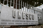 A picture taken on October 12, 2017 shows the logo of the United Nations Educational, Scientific and Cultural Organisation (UNESCO) headquarters in Paris.The United States said on October 12, 2017 that it was pulling out of the UN's culture and education body, accusing it of 'anti-Israel bias' in a move that underlines Washington's drift away from international institutions.  / AFP PHOTO / JACQUES DEMARTHON        (Photo credit should read JACQUES DEMARTHON/AFP/Getty Images)