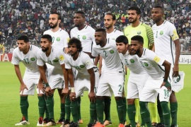JEDDAH, SAUDI ARABIA – SEPTEMBER 05:  Saudi Arabia players line up for the team photos prior to the FIFA World Cup qualifier match between Saudi Arabia and Japan at the King Abdullah Sports City on September 5, 2017 in Jeddah, Saudi Arabia.  (Photo by Kaz Photography/Getty Images)