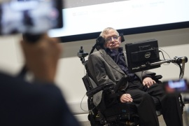 British scientist Stephen Hawking attends the launch of The Leverhulme Centre for the Future of Intelligence (CFI) at the University of Cambridge, in Cambridge, eastern England, on October 19, 2016.The Leverhulme Centre for the Future of Intelligence (CFI), which launched today, is a collaboration between the University of Cambridge, the University of Oxford, Imperial College London, and the University of California, Berkeley. The centre will explore the implications of the rapid development of artificial intelligence (AI). / AFP / NIKLAS HALLE'N        (Photo credit should read NIKLAS HALLE'N/AFP/Getty Images)