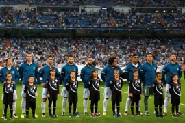 Soccer Football – Champions League – Real Madrid vs Apoel Nicosia – Santiago Bernabeu Stadium, Madrid, Spain – September 13, 2017   Real Madrid players line up before the match   REUTERS/Paul Hanna