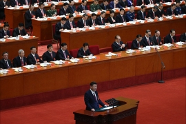 epa06272580 Chinese President Xi Jinping (C, bottom) delivers a speech during the opening ceremony of the 19th National Congress of the Communist Party of China (CPC) at the Great Hall of the People (GHOP) in Beijing, China, 18 October 2017. China holds the 19th Congress of the Communist Party of China, the country's most important political event where the party's leadership is chosen and plans are made for the next five years. Xi Jinping is expected to remain as the General Secretary of the Communist Party of China for another five-year term.  EPA-EFE/WU HONG