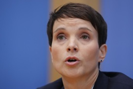 Frauke Petry, chairwoman of the anti-immigration party Alternative fuer Deutschland (AfD) speaks during a news conference in Berlin, Germany, September 25, 2017. REUTERS/Wolfgang Rattay