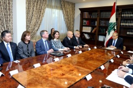 Lebanese President Michel Aoun meets with the Ambassadors of the member countries of the International Support for Lebanon in the Security Council, at the presidential palace in Baabda, Lebanon, November 10, 2017. Dalati Nohra/Handout via REUTERS  ATTENTION EDITORS – THIS IMAGE HAS BEEN SUPPLIED BY A THIRD PARTY
