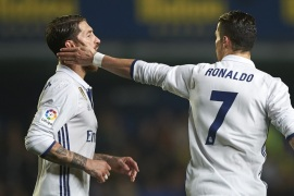 VILLARREAL, SPAIN – FEBRUARY 26:  Cristiano Ronaldo (R) of Real Madrid celebrates with Sergio Ramos of Real Madrid after scoring the second goal  during the La Liga match between Villarreal CF and Real Madrid at Estadio de la Ceramica on February 26, 2017 in Villarreal, Spain.  (Photo by Fotopress/Getty Images)