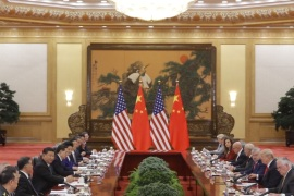 BEIJING, CHINA – NOVEMBER 9: U.S. President Donald Trump and China's President Xi Jinping hold bilateral meetings at the Great Hall of the People on November 9, 2017 in Beijing, China. Trump is on a 10-day trip to Asia.  (Photo by Thomas Peter-Pool/Getty Images)