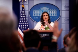 White House Press Secretary Sarah Huckabee Sanders holds the daily briefing at the White House in Washington, U.S. November 27, 2017.  REUTERS/Jonathan Ernst