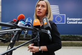 BRUSSELS, BELGIUM – OCTOBER 19:  Federica Mogherini, High Representative of the European Union for Foreign Affairs and Security Policy arrives ahead of a European Council Meeting at the Council of the European Union building on October 19, 2017 in Brussels, Belgium. Britain's Prime Minister Theresa May attends along with the other 27 members Heads of State.  Under discussion are the Iran Nuclear Deal, Brexit and North Korea. Mrs May has offered assurances to EU nationals that her government will make it as easy as possible to remain living in the United Kingdom after Brexit. (Photo by Dan Kitwood/Getty Images)