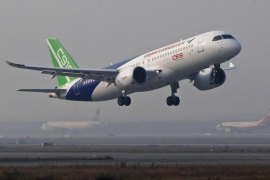 SHANGHAI, CHINA – NOVEMBER 08: The Commercial Aircraft Corporation of China (COMAC) tests its C919 aircraft from the Shanghai Pudong International Airport on November 8, 2017 in Shanghai, China. This is the fifth and the final test flight before the C919 aircraft transferred to Xi'an.  (Photo by Yin Liqin/CHINA NEWS SERVICE/VCG via Getty Images)