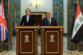 BAGHDAD, IRAQ – NOVEMBER 29:  British Prime Minister Theresa May (L) and Iraqi Prime Minister Haider Al-Abadi make statements to the media following a bi-lateral meeting in the Government Palace on November 29, 2017 in Baghdad, Iraq. Theresa May has made a surprise visit to Iraq during a planned visit to the Middle East.  (Photo by Leon Neal-Pool/Getty Images)