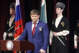 Chechen leader Ramzan Kadyrov (2nd L) takes part in a ceremony to inaugurate him for a second term as Chechen president in Grozny, April 5, 2011. Lawmakers in Russia's Chechnya region handed strongman leader Ramzan Kadyrov a new five-year term on Saturday, unanimously approving the Kremlin nominee in a vote whose outcome was never in doubt. REUTERS/Kazbek Basayev  (RUSSIA – Tags: POLITICS)