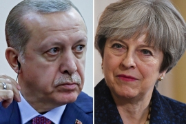 Turkish President Tayyip Erdogan  and British Prime Minister Theresa May
