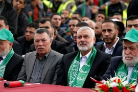 Hamas Chief Ismail Haniyeh (2nd R) attends a rally marking the 30th anniversary of Hamas' founding, in Gaza City December 14, 2017. REUTERS/Mohammed Salem