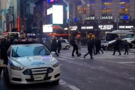 A police vehicle is seen near to the Port Authority in New York, U.S., December 11, 2017 in this still image picture obtained from social media video. Instagram/JOSEPH ZAGAMI/Handout via REUTERS   ATTENTION EDITORS – THIS IMAGE WAS PROVIDED BY A THIRD PARTY. MANDATORY CREDIT. NO RESALES. NO ARCHIVE
