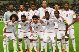 SAITAMA, JAPAN – SEPTEMBER 01:  United Arab Emirates players line up for the team photos prior to the 2018 FIFA World Cup Qualifier Final Round Group B match between Japan and United Arab Emirates at Saitama Stadium on September 1, 2016 in Saitama, Japan.  (Photo by Atsushi Tomura/Getty Images)