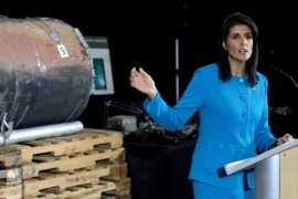 U.S. Ambassador to the United Nations Nikki Haley briefs the media in front of remains of Iranian