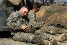 PAJU, SOUTH KOREA – APRIL 15: US soldiers prepare for a military exercise near the border between South and North Korea on April 15, 2017 in Paju, South Korea. North Korea celebrated the birthday of its founder Kim Il Sung on April 15 amid the high political tension on the Korean Peninsula and their allies.  (Photo by Chung Sung-Jun/Getty Images)