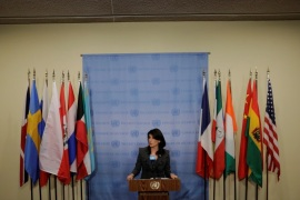 United States Ambassador to the United Nations Nikki Haley speaks at UN headquarters in New York, U.S., January 2, 2018. REUTERS/Lucas Jackson