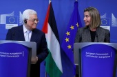 Palestinian President Mahmoud Abbas holds a joint news conference with European Union foreign policy chief Federica Mogherini in Brussels, Belgium, March 27, 2017. REUTERS/Yves Herman