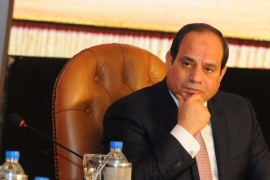 Egyptian President Abdel Fattah Al Sisi attends during the
