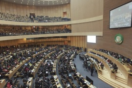 epa05135123 A general view of the 26th African Union Summit at the African Union Headquarters in Addis Ababa, Ethiopia, 30 January 2016. While the Summit's official theme is human rights in Africa, African leaders are meeting to discuss whether to deploy AU's 5,000- strong peacekeeping forces to troubled Burundi in a bid to end the armed crisis in the country despite Burundi's strong opposition. EPA/SOLAN KOLLI