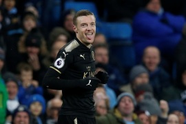 Soccer Football – Premier League – Manchester City vs Leicester City – Etihad Stadium, Manchester, Britain – February 10, 2018   Leicester City's Jamie Vardy celebrates scoring their first goal   REUTERS/Andrew Yates    EDITORIAL USE ONLY. No use with unauthorized audio, video, data, fixture lists, club/league logos or