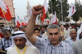 epa06549195 (FILE) – Bahrain activist Nabeel Rajab (R) takes part in a march in Bilad Al-Qadeem village, a suburb of the Bahraini capital Manama, 01 April 2012 (reissued 21 February 2018). Reports on 21 February 2018 state activist Nabeel Rajab was sentenced to five years in prison over tweets criticizing the government. EPA-EFE/MAZEN MAHDI