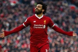 LIVERPOOL, ENGLAND – FEBRUARY 24:  Mohamed Salah of Liverpool celebrates scoring his side's second goal  during the Premier League match between Liverpool and West Ham United at Anfield on February 24, 2018 in Liverpool, England.  (Photo by Clive Brunskill/Getty Images)