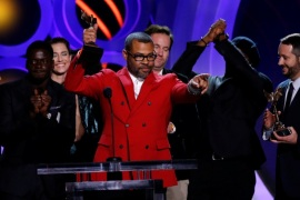 2018 Film Independent Spirit Awards – Show – Santa Monica, California, U.S., 03/03/2018 – Producer and Director Jordan Peele accepts the Best Feature Award accompanied by the cast of his film